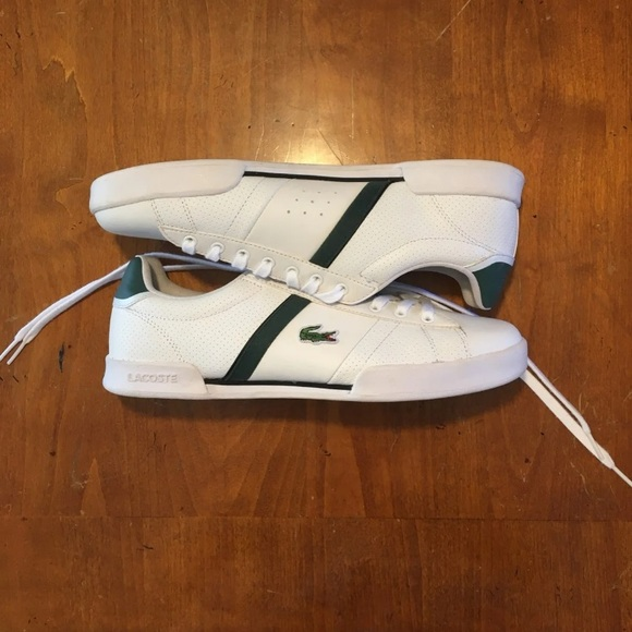 Lacoste Shoes   White And Green Sport